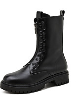 cheap -Women's Boots Chunky Heel Round Toe Mid Calf Boots Casual Daily Walking Shoes PU Solid Colored Black / Mid-Calf Boots