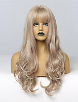 cheap -Synthetic Wig Wavy Body Wave Neat Bang Wig Long Light Brown Synthetic Hair 24 inch Women's Fashionable Design Cosplay New Arrival Light Brown