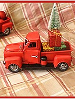 cheap -vintage christmas red metal pickup truck with wheels - old mini model car - xmas ornament table-top decor kids gift toy - collectible holiday decoration supplies rustic farmhouse style (truck + gift)
