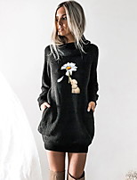 cheap -Women's T shirt Dress Floral Graphic Prints Animal Long Sleeve Cowl Neck Tops Basic Top Black Wine Camel