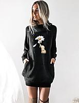 cheap -Women's T shirt Dress Floral Graphic Prints Animal Long Sleeve Cowl Neck Tops Basic Top Black Wine Camel