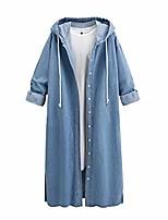 cheap -hooded denim jacket women long jean coat hoodie outwear casual overcoat
