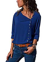 cheap -women's xs-2xl button down shirt mediterranean blouse tops sapphire - l