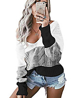 cheap -women cable knit v neck jumpers casual long sleeve off shoulder tops pullover loose sweater s-5xl(xl,white)
