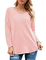 cheap -women's long sleeve v neck tunic tops casual loose blouse shirts (pink m)