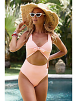 cheap -Women's Fashion Sexy One Piece Swimsuit Cut Out Bow Padded Normal Swimwear Bathing Suits Black Yellow Blushing Pink