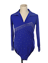 cheap -Figure Skating Top Men's Boys' Ice Skating Top Purple Blue Pink High Elasticity Training Competition Skating Wear Crystal / Rhinestone Long Sleeve Ice Skating Figure Skating / Kids