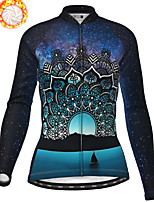 cheap -21Grams Women's Long Sleeve Cycling Jacket Winter Fleece Polyester Dark Navy Bike Jacket Top Mountain Bike MTB Road Bike Cycling Thermal Warm Fleece Lining Breathable Sports Clothing Apparel