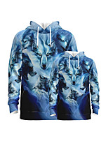 cheap -Family Look Active Wolf Graphic Optical Illusion Animal Print Long Sleeve Regular Hoodie & Sweatshirt Navy Blue