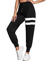 cheap -Women's Sportswear Chino Quick Dry Sport Leisure Sports Jogger Sweatpants Pants Striped Ankle-Length Drawstring Pocket Print Black