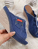 cheap -Women's Sandals Wedge Heel Peep Toe Casual Daily Walking Shoes Denim Solid Colored Black Blue