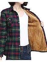cheap -women's warm sherpa lined fleece button down long plaid flannel shirt jacket green
