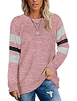 cheap -women's casual long sleeve crewneck sweatshirts comfy striped loose shirts tunic tops