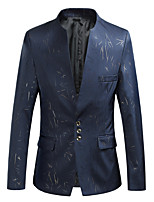 cheap -Tuxedos Standard Fit Mandarin Single Breasted Three-buttons Cotton Blend / Cotton / Polyester Graphic / Grid Pattern / Printing