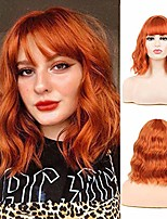 cheap -Synthetic Wig Bouncy Curl With Bangs Wig Medium Length Azure Pink+Red Orange sepia Synthetic Hair Women's Soft Fluffy Mixed Color