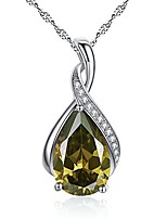 cheap -jewelry sterling silver simulated peridot birth month stone pendant necklace gifts for women