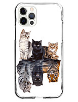 cheap -Creative Cat Patterned Case For Apple iPhone 12 iPhone 11 iPhone 12 Pro Max Unique Design Protective Case and Screen Protector Shockproof Clear Back Cover TPU