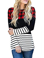 cheap -women long sleeve triple color block t shirts plaid stripe round neck casual blouse tops(colorful,l)