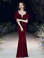 cheap -Mermaid / Trumpet Elegant Vintage Prom Formal Evening Dress Illusion Neck 3/4 Length Sleeve Floor Length Satin Velvet with Buttons 2020
