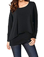cheap -women's casual t-shirt long sleeve tunic tops batwing layered round neck loose blouse plus size color blue 3x
