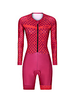 cheap -Men's Women's Long Sleeve Triathlon Tri Suit Polyester Red Polka Dot Bike Clothing Suit Breathable 3D Pad Quick Dry Reflective Strips Sweat-wicking Sports Polka Dot Mountain Bike MTB Road Bike Cycling