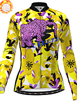 cheap -21Grams Women's Long Sleeve Cycling Jersey Winter Fleece Polyester Purple Yellow Red Camo / Camouflage Animal Bike Jersey Top Mountain Bike MTB Road Bike Cycling Fleece Lining Breathable Warm Sports