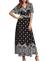 cheap -women's bohemian hawaii style short sleeve v neck button up high waist split floral print wrap maxi long dress (3309 black snow)