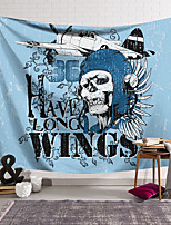 cheap -Wall Tapestry Art Decor Blanket Curtain Hanging Home Bedroom Living Room Decoration Polyester Fiber Novelty Still Life Skull Skull Pilot Blue White Feather