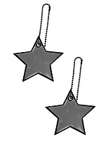 cheap -safety reflectors pendants - star - ultra bright and stylish reflective gear for school bag/backpack/bag - reflective fluorescent (black-white-blue-pink-4-pack)