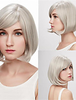 cheap -Synthetic Wig Straight Asymmetrical Wig Short Silver Synthetic Hair Women's Classic Cool Silver
