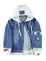 cheap -drawstring hood denim jacket faux pockets coat outwear(deep blue,l)
