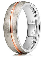 cheap -6mm titanium wedding ring brushed domed with with rose gold stripe wedding band engagement ring size 11.5