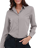 cheap -women's basic button down shirts long sleeve plus size simple cotton stretch formal casual shirt blouse light grey s