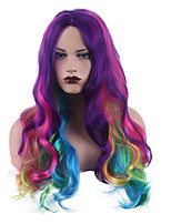 cheap -Synthetic Wig Body Wave Bouncy Curl Middle Part Wig Long Rainbow Synthetic Hair Women's Soft Party Coloring Mixed Color