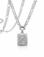 cheap -silver square initial necklaces for women teen girls letter z personalized name for mom daughter wife girlfriend stainless steel figaro chain vintage medallion pendant necklace