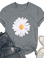 cheap -daisy shirts women floral graphic t shirt flower tee fashion vintage short sleeve tops gray