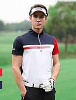 cheap -Men's Golf Tee Tshirt Zip Top Short Sleeve Breathable Quick Dry Soft Sports Outdoor Autumn / Fall Spring Summer Spandex Red Dark Navy / Stretchy