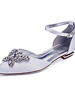 cheap -Women's Wedding Shoes Flat Heel Pointed Toe Classic Sweet Wedding Party & Evening Satin Rhinestone Pearl Solid Colored White Black Purple