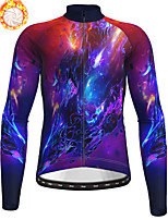 cheap -21Grams Men's Long Sleeve Cycling Jacket Winter Fleece Polyester Purple Bike Jacket Top Mountain Bike MTB Road Bike Cycling Thermal Warm Fleece Lining Breathable Sports Clothing Apparel / Stretchy