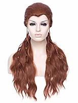 "cheap -30"" women's long curly wavy women cosplay wig brown wig braids wig halloween cosplay+wig cap (brown 2)"