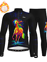cheap -21Grams Men's Long Sleeve Cycling Jersey with Tights Winter Fleece Polyester Black Animal Bike Clothing Suit Thermal Warm Fleece Lining Breathable 3D Pad Warm Sports Horse Mountain Bike MTB Road Bike