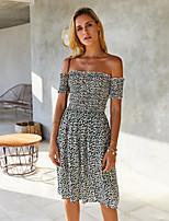 cheap -Women's A-Line Dress Knee Length Dress - Sleeveless Polka Dot Layered Patchwork Print Spring Summer Off Shoulder Casual Mumu Going out Loose 2020 White Blue Blushing Pink S M L XL