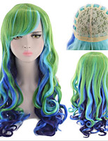 cheap -Synthetic Wig Deep Wave Asymmetrical Wig Long Mint Green Synthetic Hair Women's Soft Color Gradient Ombre Hair Green