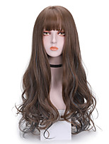 cheap -Synthetic Wig Curly With Bangs Wig Long Brown Synthetic Hair 24 inch Women's Comfy Fluffy Brown