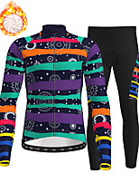 cheap -21Grams Men's Long Sleeve Cycling Jersey with Tights Winter Fleece Polyester Black Stripes Bike Clothing Suit Fleece Lining Breathable 3D Pad Warm Quick Dry Sports Stripes Mountain Bike MTB Road Bike