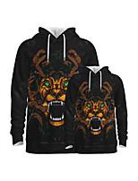 cheap -Family Look Active Dragon Graphic Optical Illusion Animal Print Long Sleeve Regular Hoodie & Sweatshirt Black