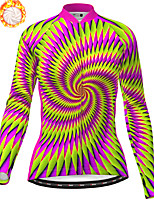 cheap -21Grams Women's Long Sleeve Cycling Jersey Winter Fleece Polyester Purple Bike Jersey Top Mountain Bike MTB Road Bike Cycling Fleece Lining Breathable Warm Sports Clothing Apparel / Stretchy