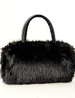 cheap -Women's Bags Faux Fur Polyester Crossbody Bag Feathers / Fur Zipper Plain Plush 2021 Daily Going out White Black Red