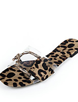cheap -Women's Sandals Flat Heel Peep Toe Casual Daily PU Leopard Leopard Black Beige