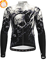 cheap -21Grams Men's Long Sleeve Cycling Jacket Winter Fleece Polyester Black Skull Bike Jacket Top Mountain Bike MTB Road Bike Cycling Thermal Warm Fleece Lining Breathable Sports Clothing Apparel